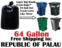the REPUBLIC OF PALAU 64 Gallon Trash Bags Super Big Mouth Trash Bags 64 GAL Garbage Bags