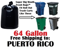 PUERTO RICO 64 Gallon Trash Bags Super Big Mouth Trash Bags 64 GAL Garbage Bags