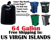 U. S. VIRGIN ISLANDS 64 Gallon Trash Bags Super Big Mouth Trash Bags 64 GAL Garbage Bags