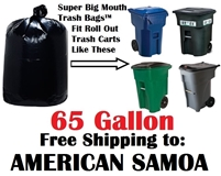 AMERICAN SAMOA 65 Gallon Trash Bags Super Big Mouth Trash Bags 65 GAL Garbage Bags