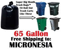 the Federated States of MICRONESIA 65 Gallon Trash Bags Super Big Mouth Trash Bags 65 GAL Garbage Bags