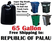 THE REPUBLIC OF PALAU 65 Gallon Trash Bags Super Big Mouth Trash Bags 65 GAL Garbage Bags