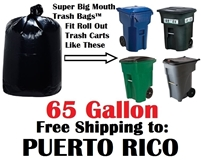 PUERTO RICO 65 Gallon Trash Bags Super Big Mouth Trash Bags 65 GAL Garbage Bags