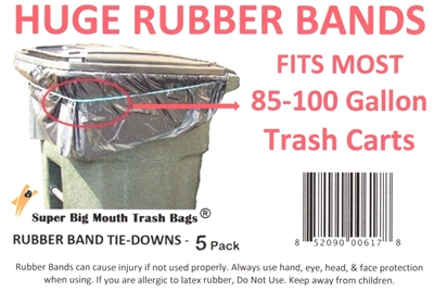 "SUPER BIG MOUTH TRASH BAGS® 30"" RUBBER BANDS Tie-Downs for 85-100 Gallon Trash Carts"