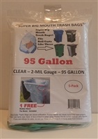 CLEAR 95 Gallon Trash Bags 5 Pack