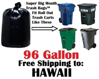 HAWAII 96 Gallon Trash Bags Super Big Mouth Trash Bags HAWAIIN 96 GAL Garbage Bags