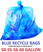 "50 - 55 - 56 - 60 Gallon BLUE RECYCLE Trash Bags 38"" x 55"" 1.2-MIL - Flat Packed - 100 Bags"