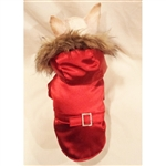 Jewel Silky Red Faux Fur Trimmed Coat- This coat is made with a silky red fabric which is lightly lined for comfort. The coat has a faux fur trimmed hood.