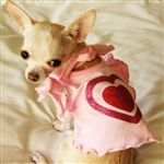 Pink Glitter Heart Ruffle Dog Dress