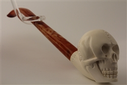 Deluxe Hand Carved Skull Churchwarden Meerschaum Pipes