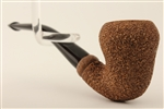 Deluxe Hand Carved Dark Finish Rusticated Pear Meerschaum Pipe