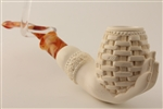 Deluxe Hand Carved Basket in a Lady's Hand Meerschaum Pipe
