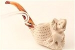 Deluxe Hand Carved Mother & Baby Elephant Meerschaum Pipes