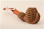 Special Hand Carved Basket in Hand Dark Finish Meerschaum Pipes