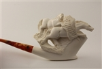 Special Hand Carved Horses & Pegasus Meerschaum Pipe