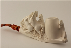 Special Hand Carved Horses Meerschaum Pipe