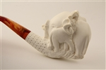 Deluxe Hand Carved Elephant Family Meerschaum Pipe