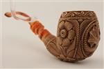 Special Hand Carved Dragon Medallion Meerschaum Pipe