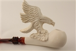 Special Hand Carved Eagle Self Sitter Meerschaum Pipe