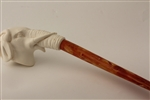 Deluxe Hand Carved Churchwarden Elephant Meerschaum Pipe
