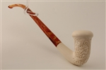 Special Hand Carved Vineyard Calabash Churchwarden Meerschaum Pipe