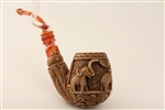Deluxe Hand Carved Three Elephants Medallion Meerschaum Pipes