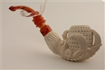 Deluxe Hand Carved Eagle's Claw Lattice Meerschaum Pipe