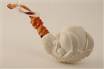 Deluxe Hand Carved Eagle's Claw Smooth Meerschaum Pipe