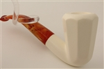 Deluxe Hand Carved Octagon Smooth Meerschaum Pipe
