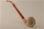 Deluxe Hand Carved Basket in Hand Churchwarden Meerschaum Pipe