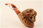 Deluxe Hand Carved Tiger Meerschaum Pipe with Dark Finish