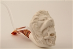 Deluxe Hand Carved Skull in Lion's Mouth Meerschaum Pipe