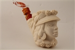 Special Hand Carved Victorian Lady by Master Carver I.Baglan Meerschaum Pipe