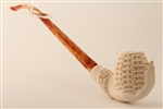 Special Hand Carved Basket in Hand Churchwarden Meerschaum Pipe