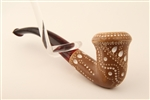 Deluxe Hand Carved Designers Lattice Calabash Meerschaum Pipe