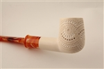 Deluxe Hand Carved Designers Lattice Straight Meerschaum Pipe