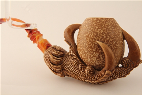Special hand carved rusticated eagle s claw meerschaum