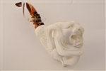 Special Hand Carved Tiger in Claw By Master Carver E. Cevher Meerschaum Pipe