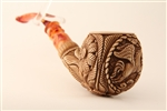 Special Hand Carved Pegasus Medallion Meerschaum Pipe