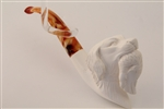 Deluxe Hand Carved Hunting Dog Meerschaum Pipe