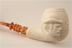 Special Hand Carved Ultra Deluxe Sherlock Holmes & Dr. Watson Medallion Meerschaum Pipe