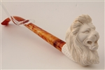 Deluxe Hand Carved Lion Churchwarden Meerschaum Pipe