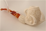 Special Hand Carved Deluxe Embossed Eagle's Claw Meerschaum Pipe