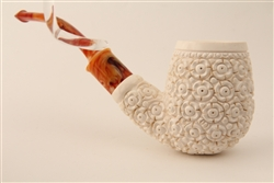 Special Hand Carved Floral Bent Billiard Meerschaum Pipe