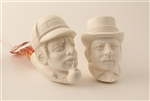 Special Hand Carved Sherlock Holmes & Dr Watson Set Meerschaum Pipe