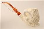 Special Hand Carved Ultra Deluxe Embossed Eagle's Claw Meerschaum Pipe