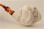 Deluxe Hand Carved Skull in Claw Meerschaum Pipe