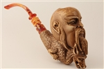 Special Hand Carved Chinese Wise with Dragon Meerschaum Pipe