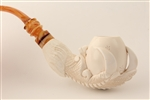 Deluxe Hand Carved Eagle's Claw Meerschaum Pipe