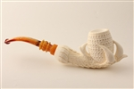 Special Hand Carved Lattice Eagle's Claw Meerschaum Pipe